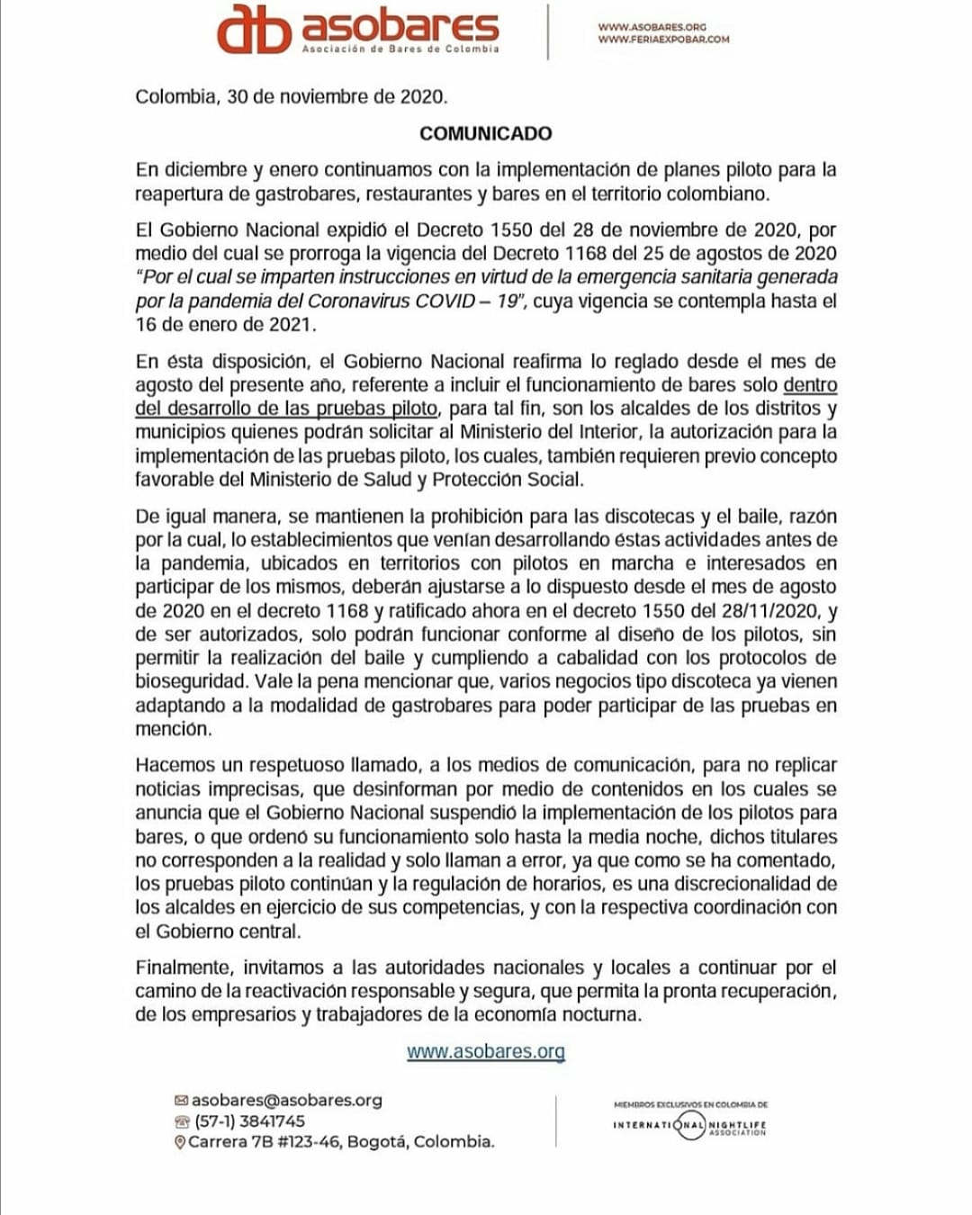 Comunicado enviado por Camilo Ospina Presidente de Asobares Asobares Colombia   @CamiloCOG #mortizia69