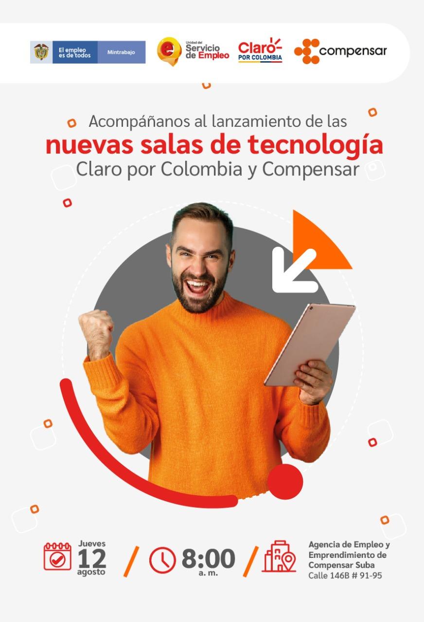 Claro por Colombia y la Agencia de Empleo y Emprendimiento de Compensar inauguran dos nuevas salas de tecnología para la orientación, formación y empleo en Soacha y Suba